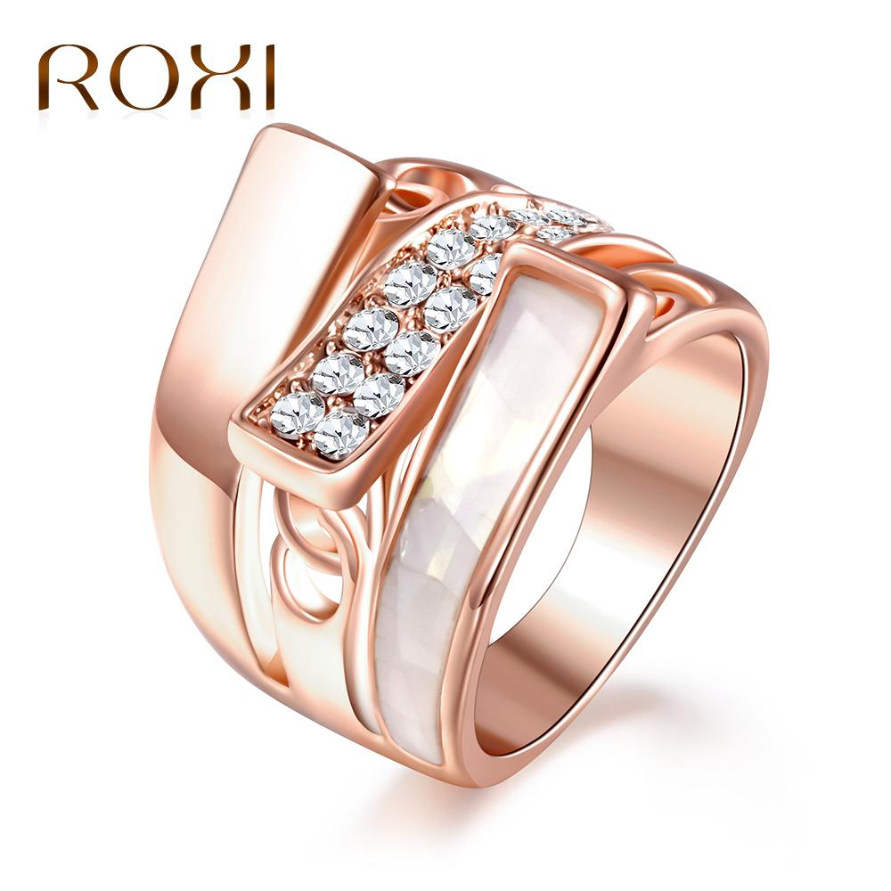 ROXI Fashion Drip Oil Rings for Women Rose Gold Color Crystal Ring Wedding Party Jewelry Accessories