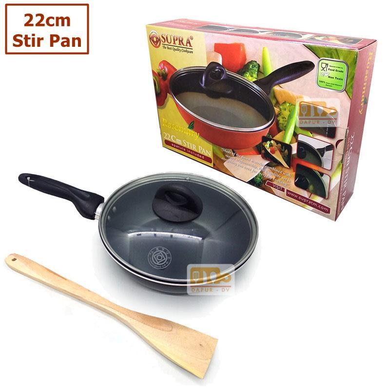 Supra Wajan Stir Pan 22 tutup kaca + spatula - anti lengket / wajan teflon