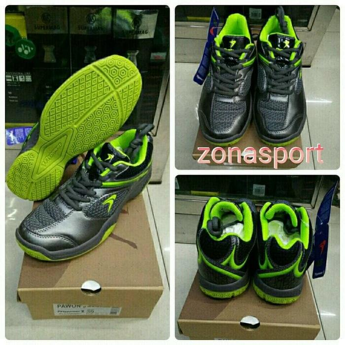 SEPATU BADMINTON FLYPOWER PAWON 3 GREY LIME - ORIGINAL - 94Sezt