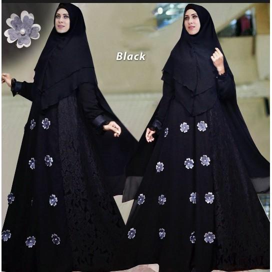 (JNH Shop)  Busana Muslim Syari Violet Black Gamis Baju Pesta Mewah Xl Murah TM