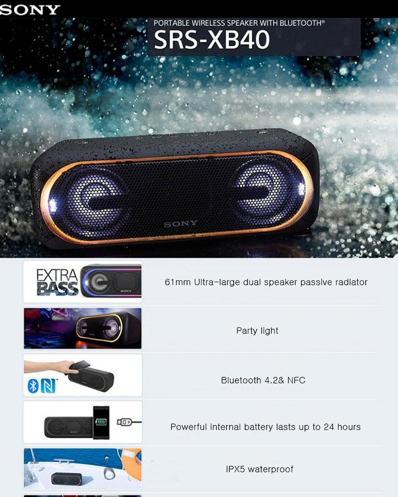 Detail produk dari SONY SRS-XB40 Lampu LED Klub Suara Bluetooth 4.2 IPX5 Tahan Pengeras Suara Portabel-Intl