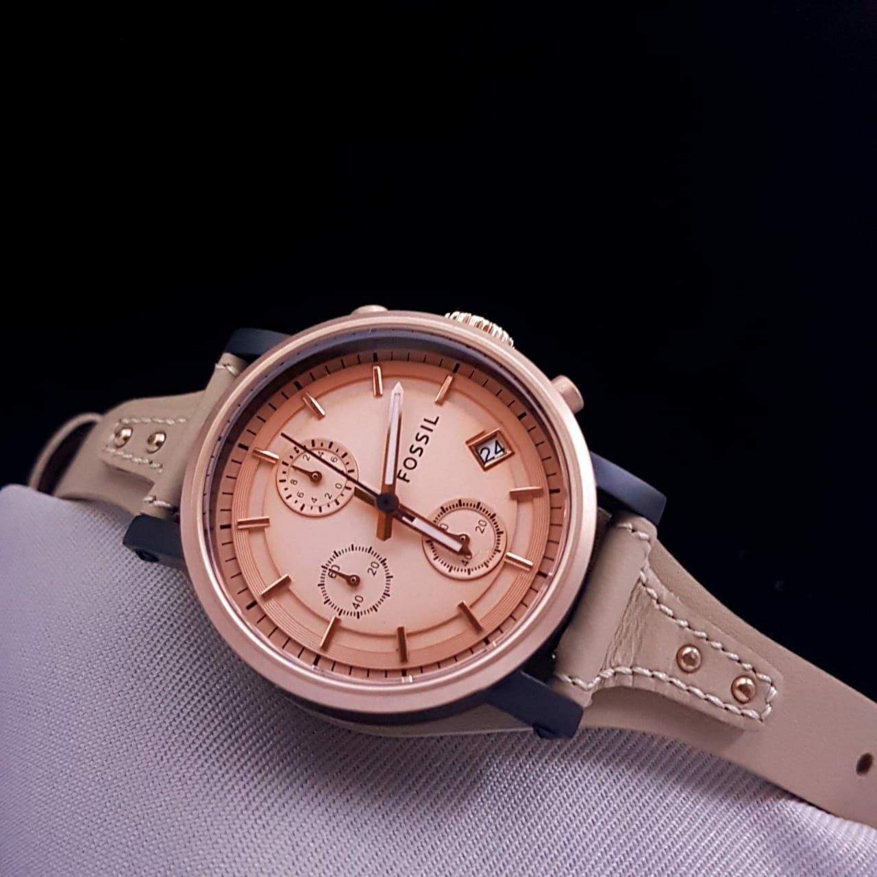 Harga Spesifikasi Jam Tangan Fossil Es3838 Original Nate Chronography Jr 1424 Pria Brown Strap Leather Wanita Merk Es 4113 Es4113