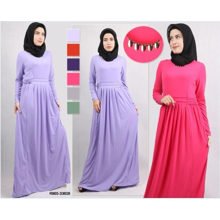 Oma Holley Fashion Azmi Baju Muslim Dress Maxi Motif Polos Desain Layer Kecil - Size M