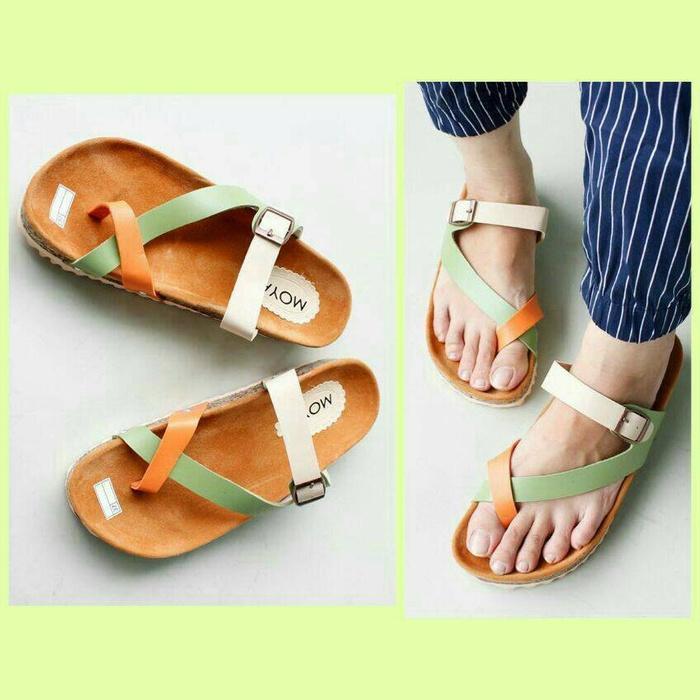 Sandal / Sendal Santai Model Carvil Hijau Orange / sandal flat / sepatu murah / sepatu