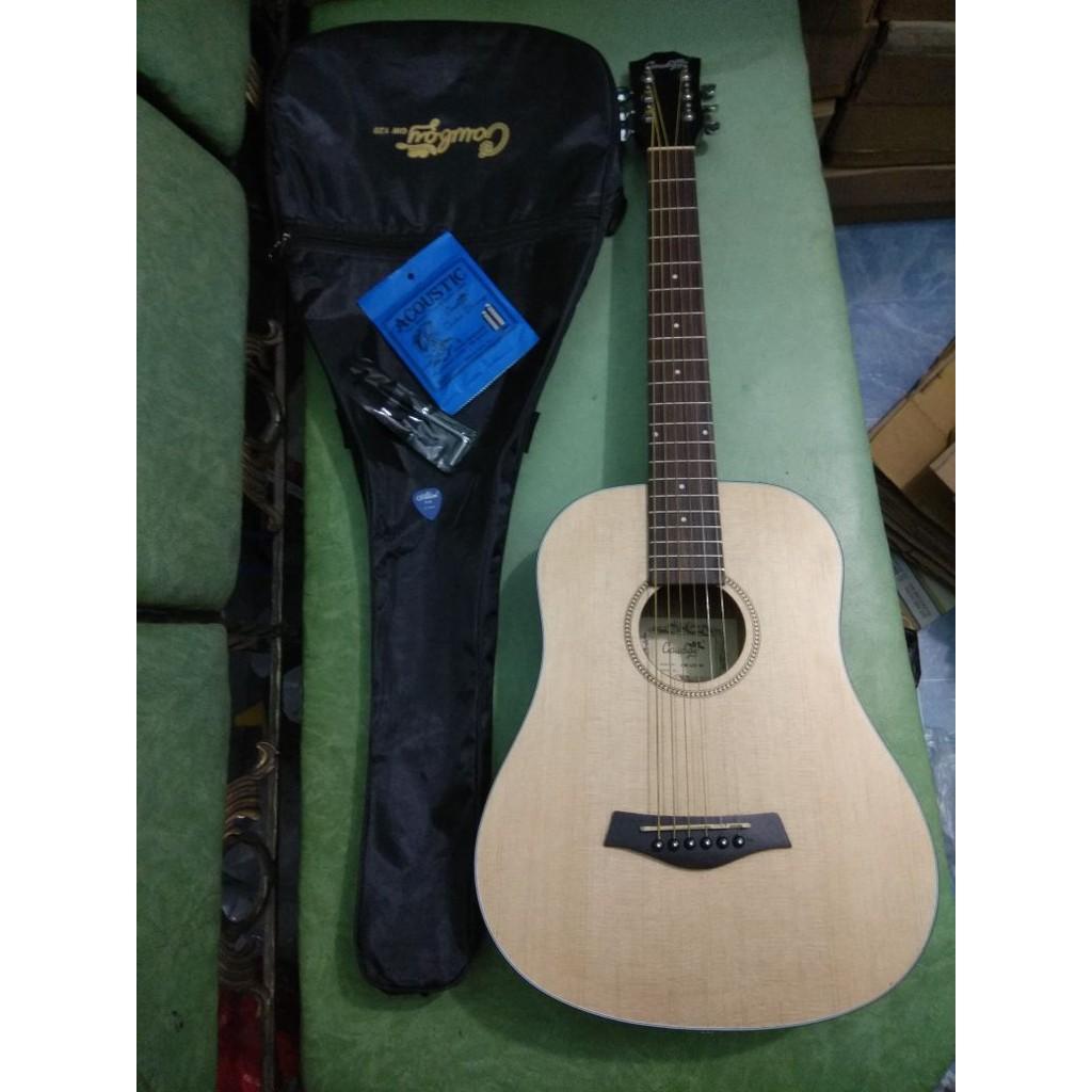 Gitar Akustik Cowboy 3 Per 4 Natural 1 Set Ori Jakarta Murah