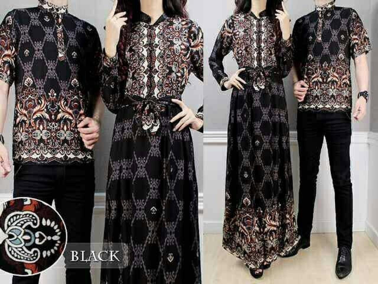 Indonesia. baju pasanga. sarimbit gamis couple alya hitam batik harga  sepasang Baju Batik Couple  d6bfa2fd06