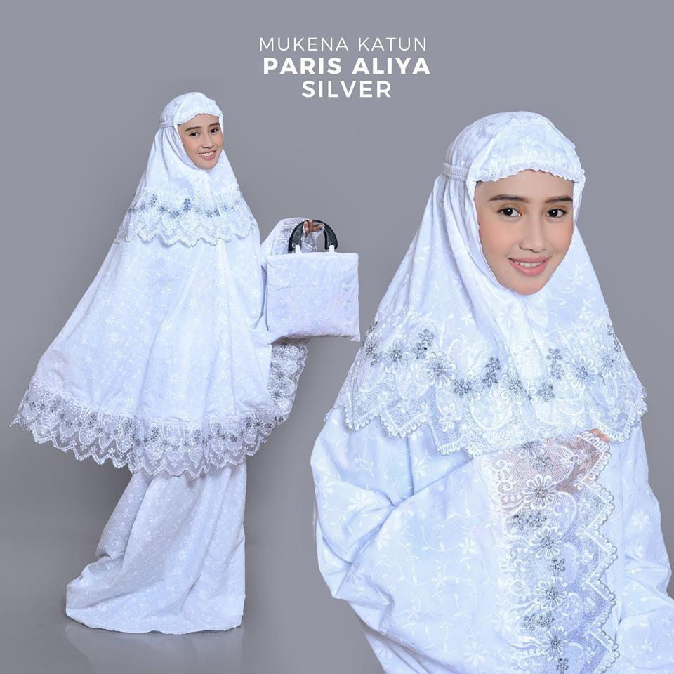 Mukena Dewasa Katun Paris - Aliya Putih Silver