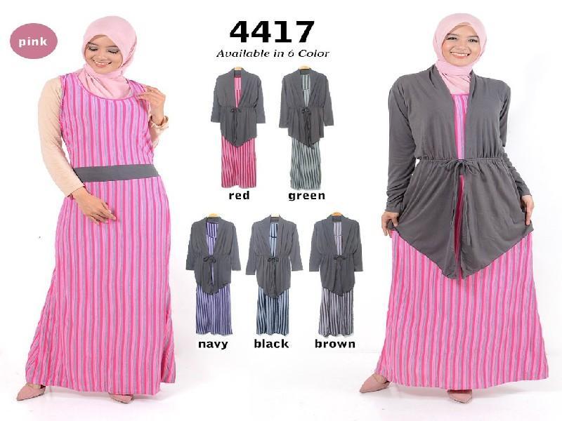 Fashion Baju Gamis Dress XL Jumbo Big Size Murah Wanita Muslim Kekinian 4417
