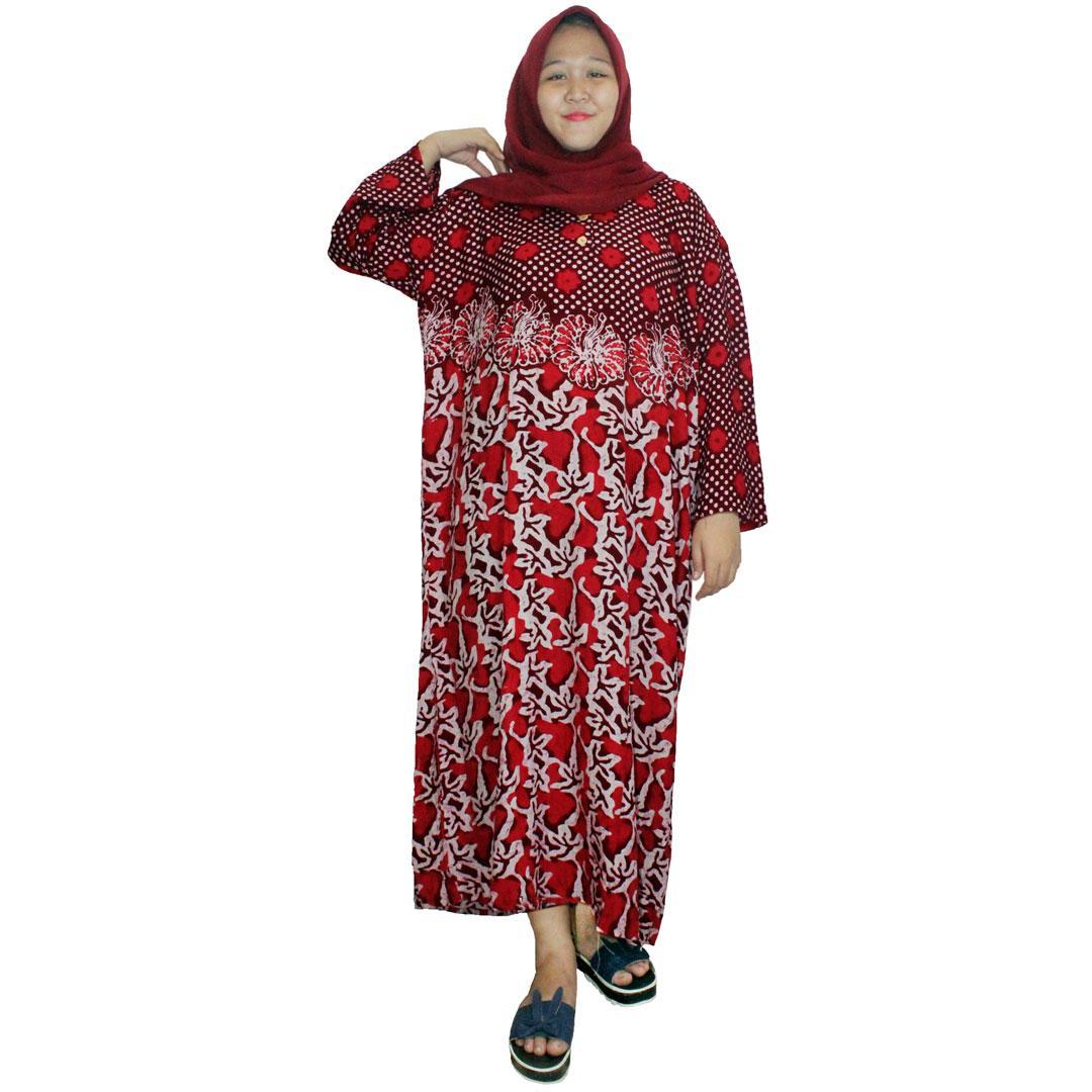 Pakaian Muslim Santai Ukuran Besar,  Longdres Jumbo Batik, Kancing,Bumil,Busui (LPT003-27) Batikalhadi Online