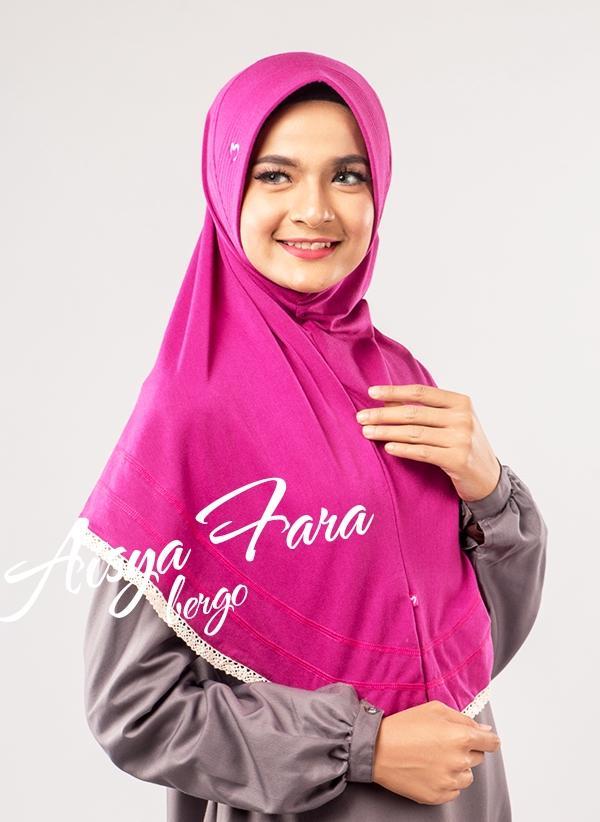 Pasmira Aisya Fara Bergo Motif Polos Warna Pink / Jilbab dan Kerudung Murah dan Syari / Jilbab Instan Polos Warna Pink