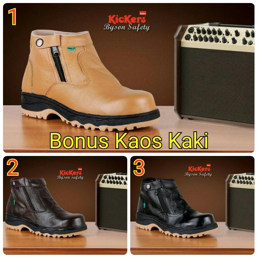 Promo SEPATU BOOTS GAGAH TRACKING KICKERS BYSON ZIPPER SLETING SAFETY BESI Diskon