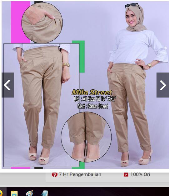 ... Celana panjang wanita Basic premium pants mode MILLA STRET ori - 5