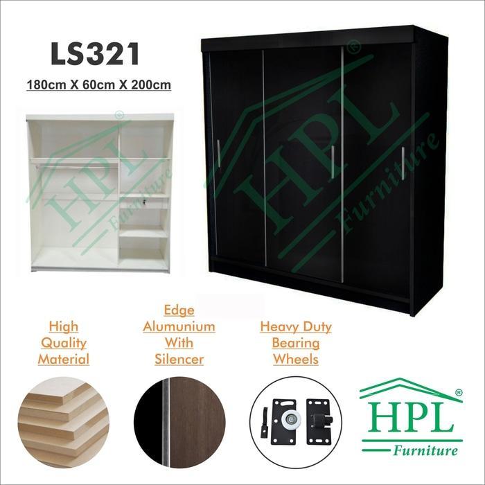 Lemari Pakaian Sliding Door 3 Pintu HPL - hitam @ 3 pintu anak bayi kayu jati minimalis plastik gantung murah portable sliding