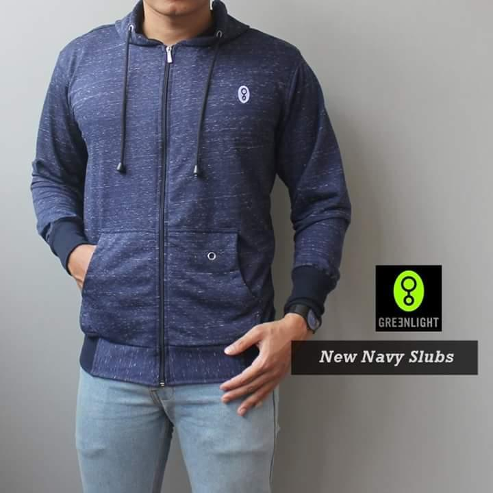 Jaket Hoodie Greenlight New Navy Slubs