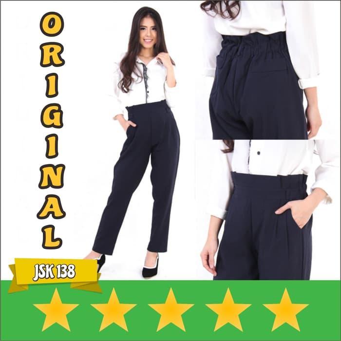 JSK 138 - Celana Kerja Kantor Mango Wanita Model Basic Kain Original - Biru Dongker- All Size