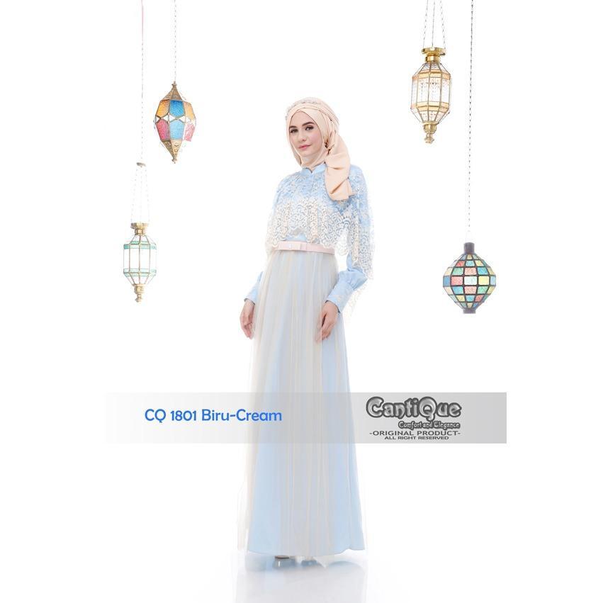 CantiQue gamis dress 1801 biru salem mewah elegant baju lebaran