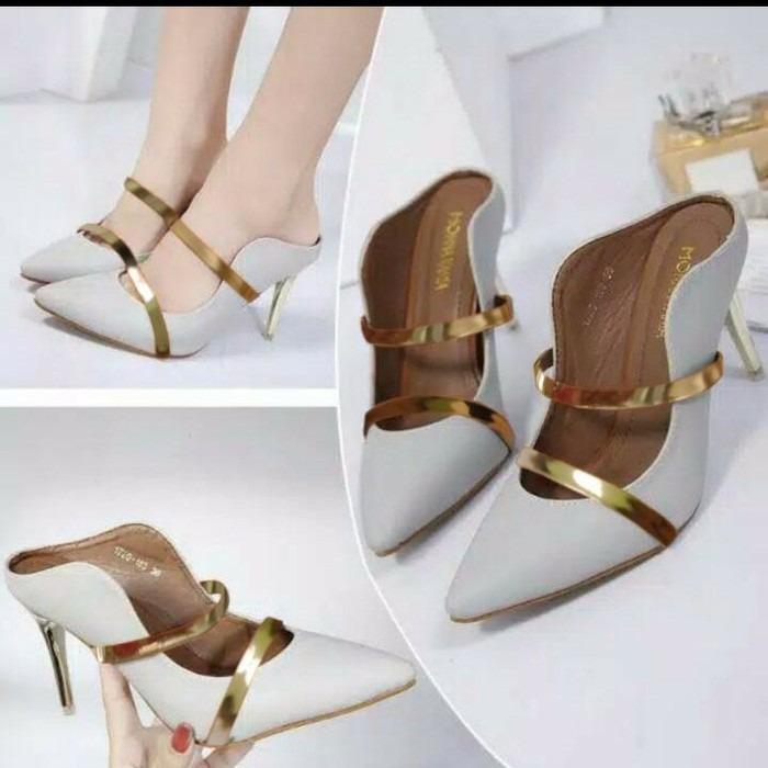 Sepatu kerja pesta sandal high heels cream gold baru murah