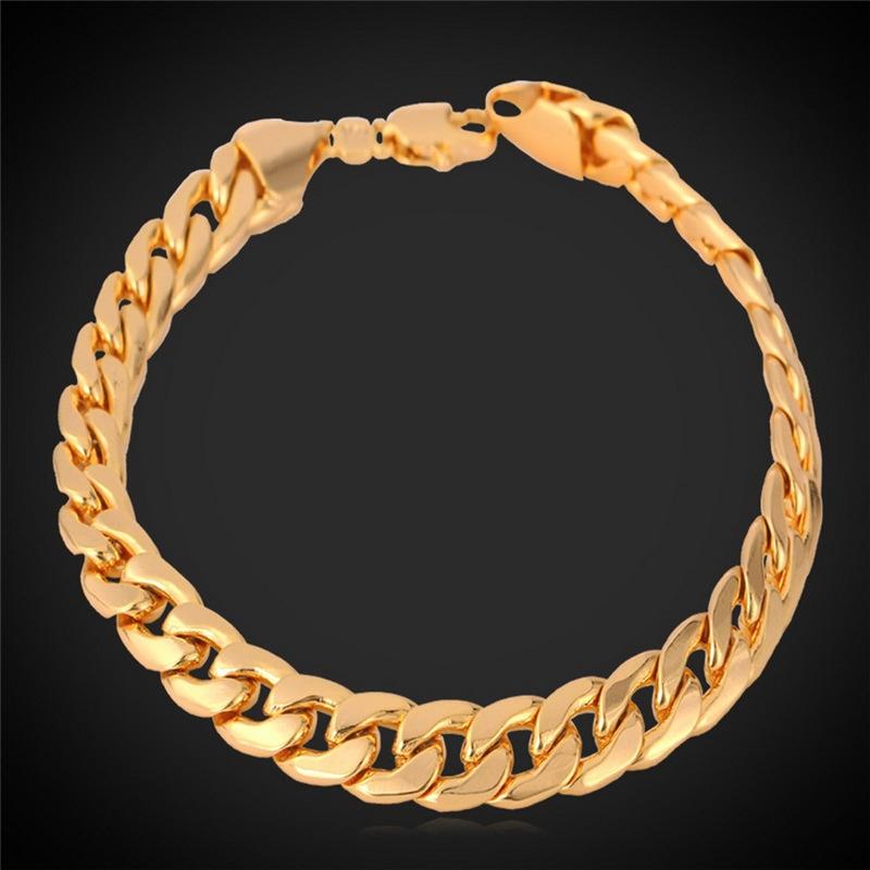 Bahan: 18 Karat Berlapis Emas Yang. Jenis Perhiasan: Gelang Rantai