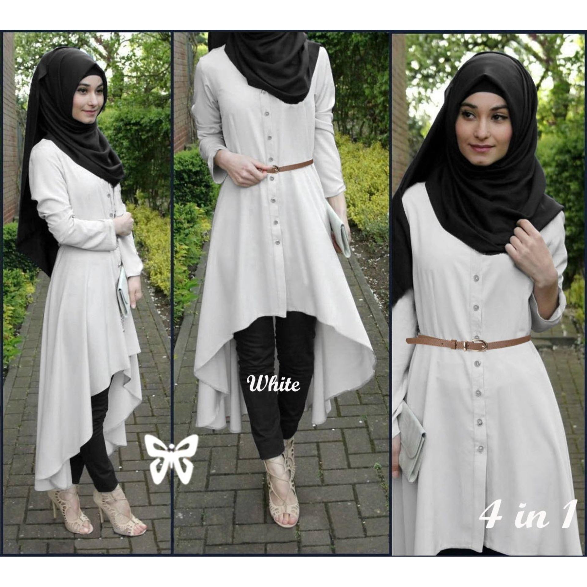 Flavia Store Baju Muslim Wanita Set 4 in 1 FS0689 - PUTIH / Setelan Muslimah / Stelan Gamis / Hijab / Atasan Blouse Terusan Kemeja Tunik Lengan Panjang Bawahan Celana / Srsafira