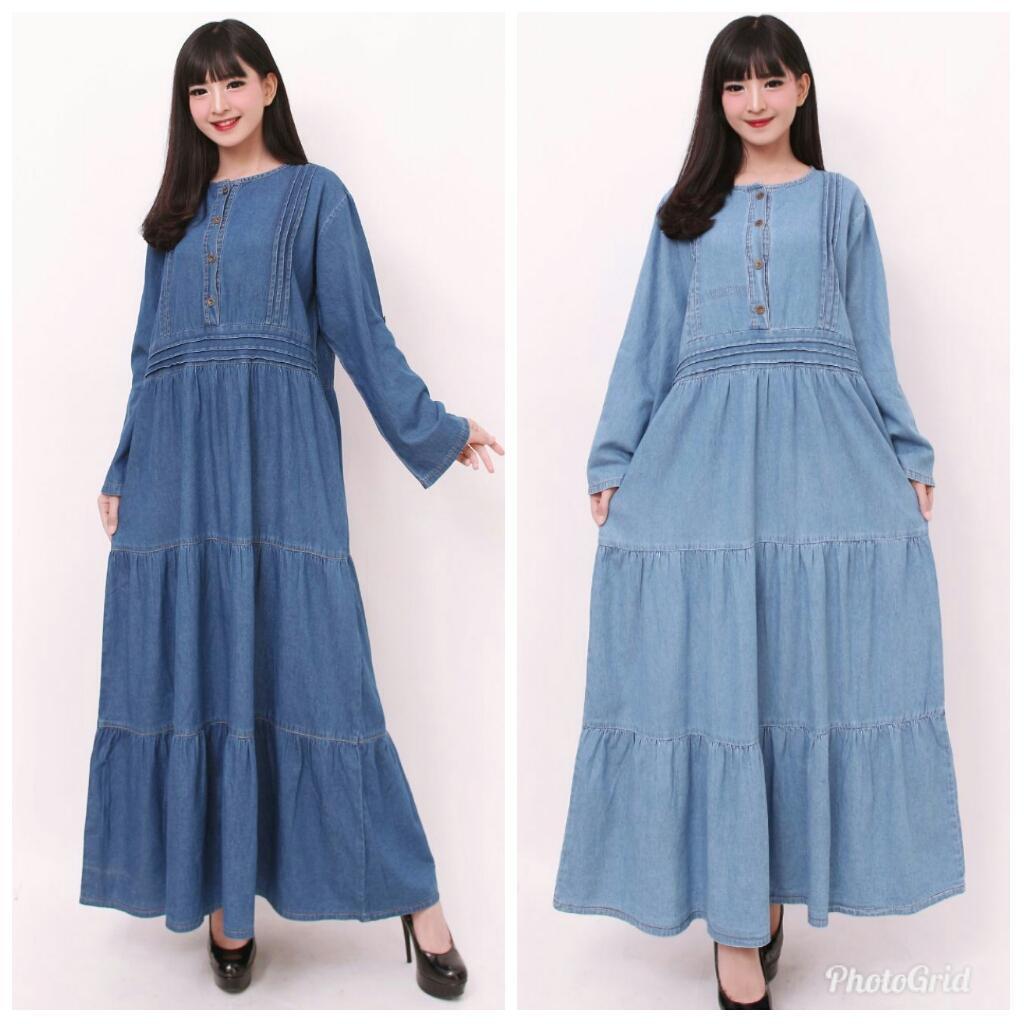 Miracle Dress Maxi Kiara Gamis Jeans Longdress Jumbo Wanita