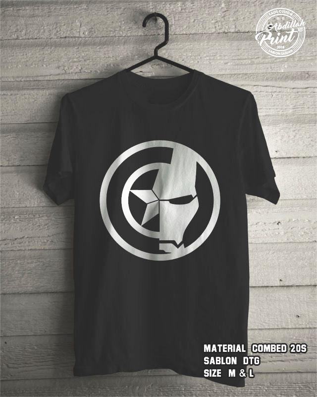 Kaos Distro Custom Design T Shirt Casual Atasan Pria Wanita Cotton Combed 20s Sablon DTG Quality Export - Superhero Marvel Avengers - Captain America Ironman - Black