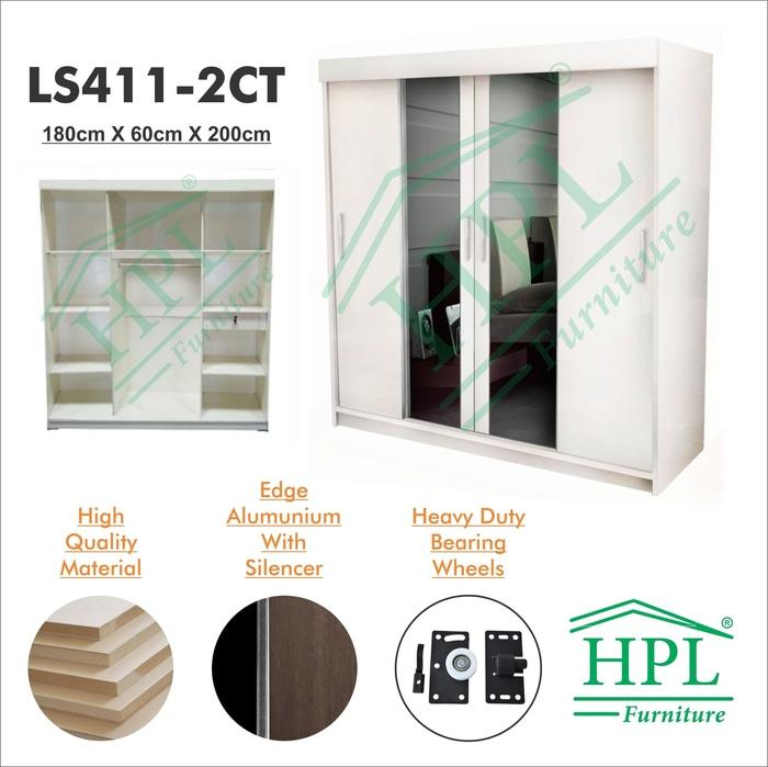 Lemari Pakaian HPL Sliding 4 Pintu Putih Glossy+kaca 2 Pintu LPS-402 @ 3 pintu anak bayi kayu jati minimalis plastik gantung murah portable sliding