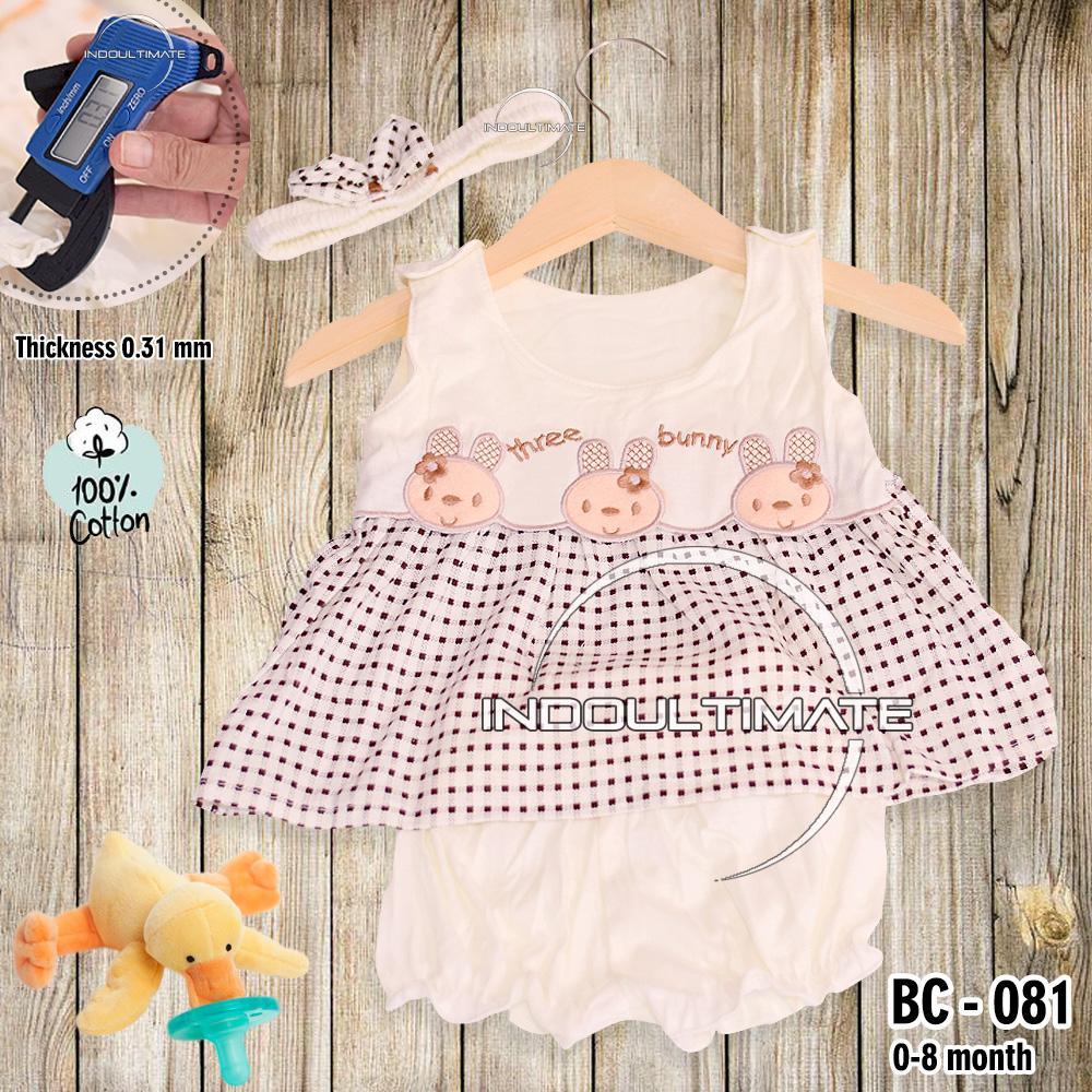 BABY LEON Setelan Baju Baby Cewek / Pakaian Baby Cewek / BY BC-081 BAJU BABY CEWEK SATU SET + BANDO