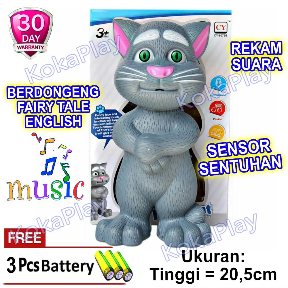KokaPlay Boneka Intelligent Talking Tom Cat Mainan Anak Laki Laki Perempuan Edukasi Touch Sensor Sentuh Boneka Kucing + Free 3 Baterai