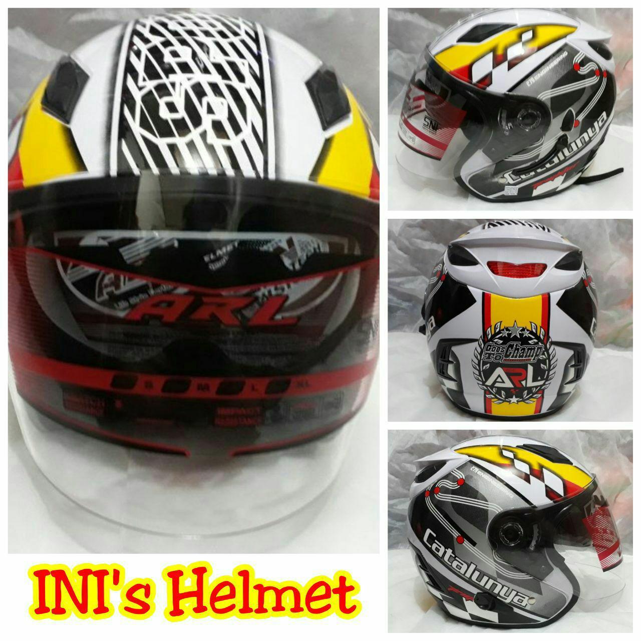 Helm Half Face Motif circuit Sport Catalunya - SNI - Double Visor - busa bongkar pasang