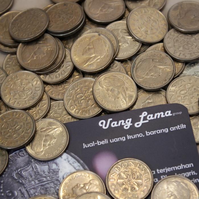 Uang Kuno Uang Koin Uang Mahar 50 Sen Diponegoro (2 keping= 1 Rupiah)