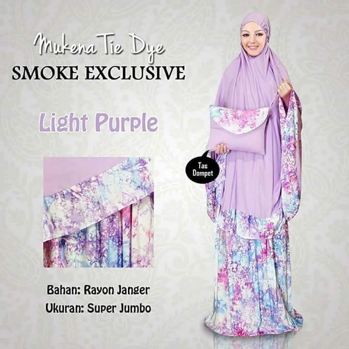 Mukena Bali Dewasa Smoke Bawah Light Purple Mukena Tie Dye Light Purple