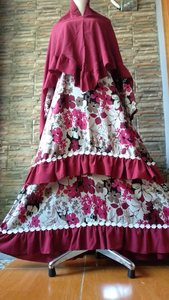 Set Syari/Gamis/Gamis Mewah/Gamis Pesta/Baju Muslimah Flower - Merah Marun