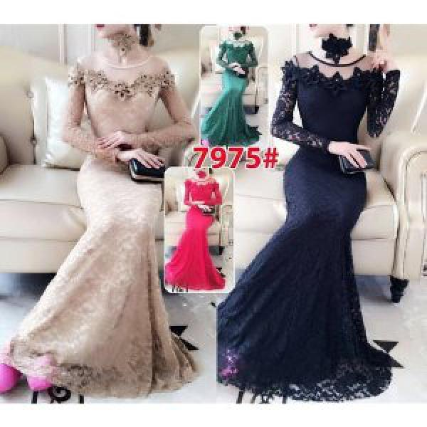 Long Dress 7975 Baju pesta Baju party Baju Nikah Gaun brokat