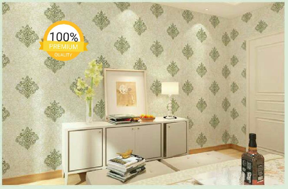 ... Grosir murah wallpaper sticker dinding kamar ruang indah batik hijau rajut emas - 3 ...