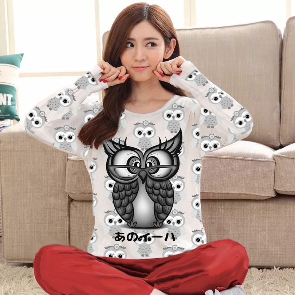 fashionshop Baju Tidur Owl / Piyama Wanita / Baju Tidur Wanita / Baju Santai / Piyama Dewasa / Piyama Karakter / Setelan Wanita /Jamsuit / Jamsuit Wanita / Celana Panjang / Celana Kodok / Baju Kodok