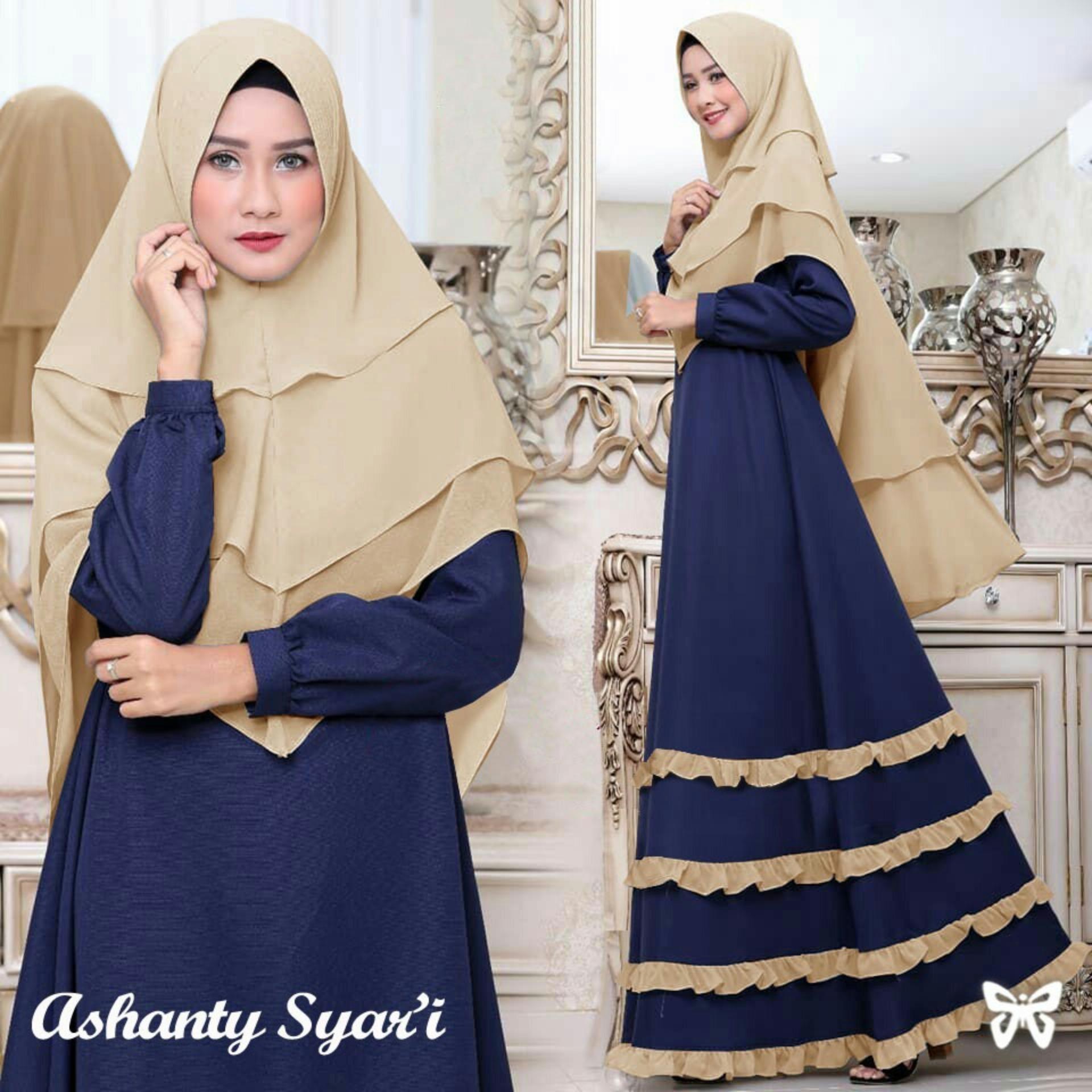 Busana Tunik Dress Gamis Syari Maxi Muslimah Ashanty biru dongker