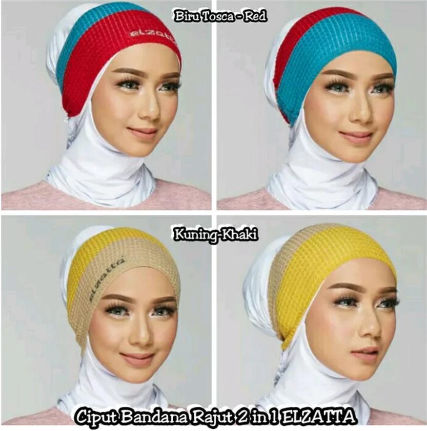Jilbab-Hijab-Jilbab Murah-Ciput BANDANA RAJUT 2 IN 1 By ELZATTA