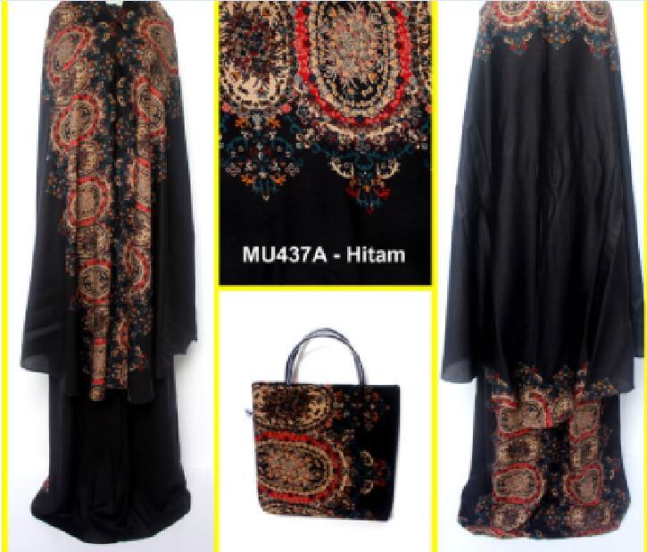 Mukena Bali Motif Batik Unik Size Semi Jumbo - MU437A Hitam