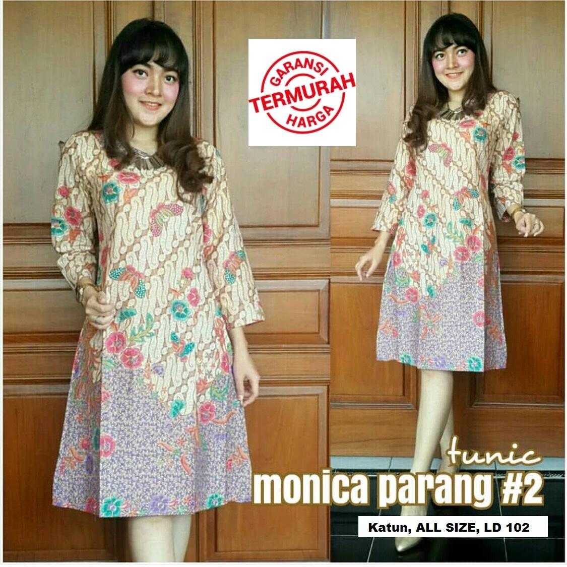 Atasan Dress Tunik Batik Wanita - Dress Wanita - Tunik Parang Soft Ungu