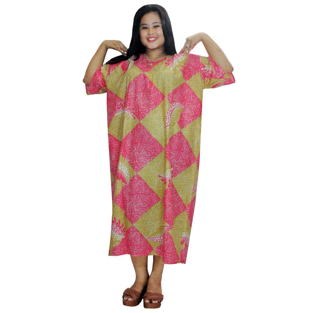 Daster Jumbo Lengan Pendek Batik, Baju Tidur Jumbo, Piyama Jumbo, Kancing, Daster Bumil - Busui (DPT003-60) Batik Alhadi