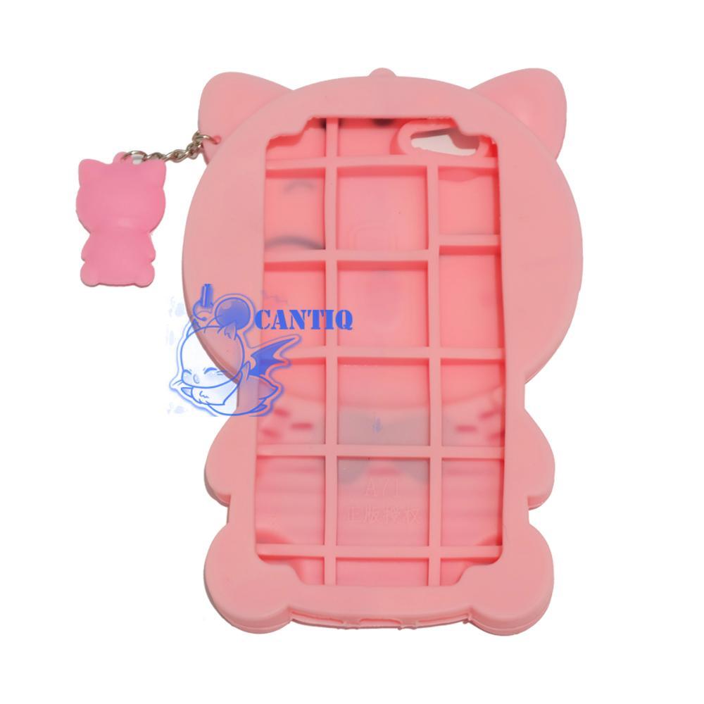 QCF Silikon Case 3D Oppo A71 Kucing Pink Belang Merah / Casing Oppo .