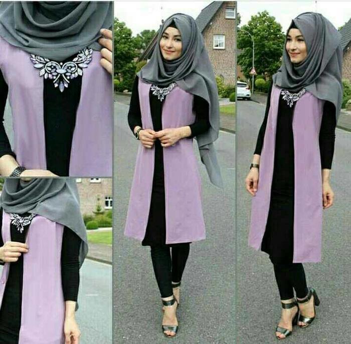 atiqah soft purple hijab set 4in1