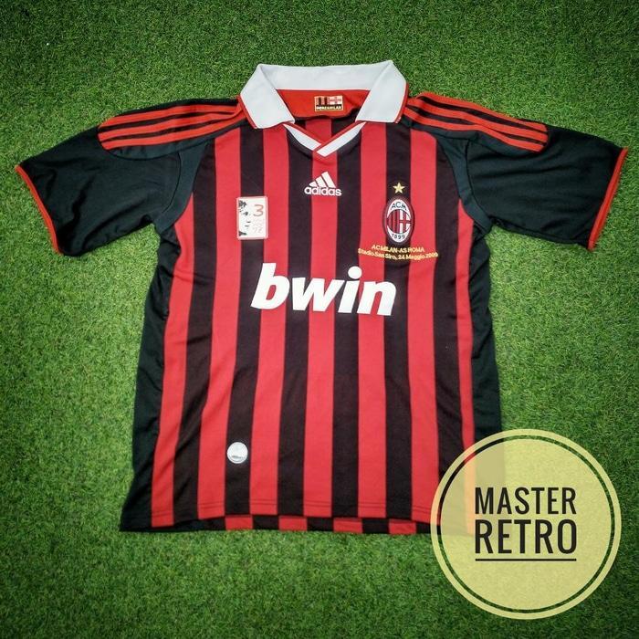 Jersey Bola Retro AC Milan Solo Perte + Patch Maldini - 7QBA7Z