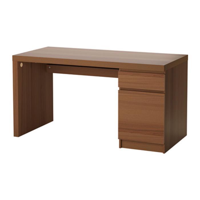 IKEA MALM Meja Kerja 140x65 cm, desain minimalis, warna kayu