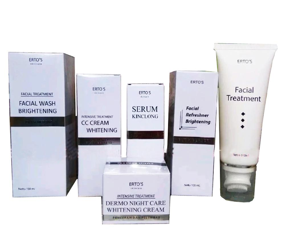 Cek Harga Baru Ertos Whitening Treatment Paket Hemat Super Glowing Baked Powder All In 1 Night Cream Cc Facial Wash Toner