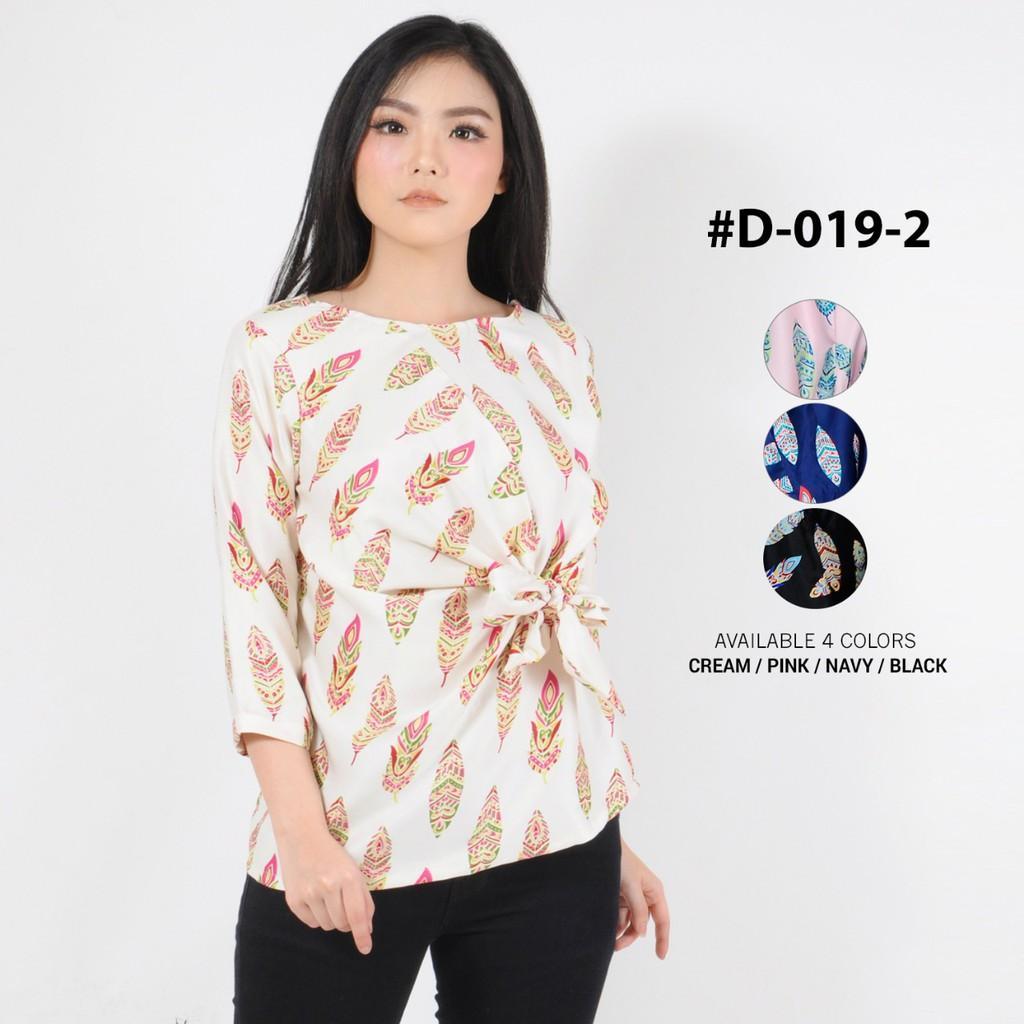 Monellina Fashion Baju Blouse Atasan Kerja Tangan Panjang Murah Wanita Kekinian Feather Ikat D-0192