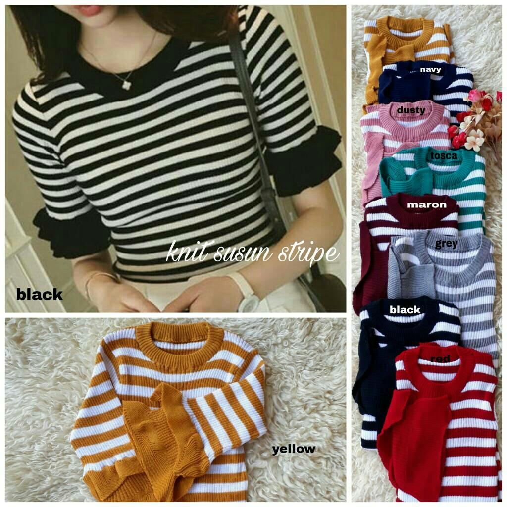 Atasan Wanita Lengan Pendek Knit Susun Stripe / Baju Wanita / Blouse Korea / Atasan Wanita / Baju F