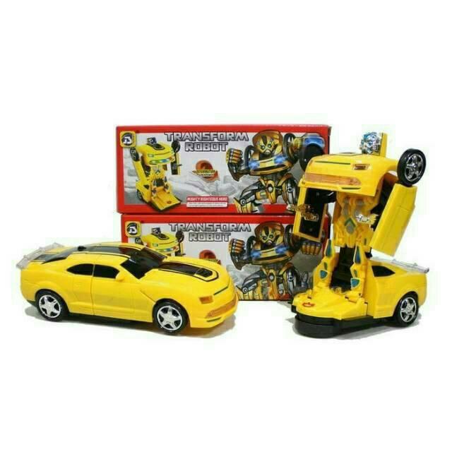 B-17000298 MAINAN MOBIL ROBOT TRANSFORMER BUMBBLE BEE + 3D LIGHT / Mainan Robot jadi Mobil