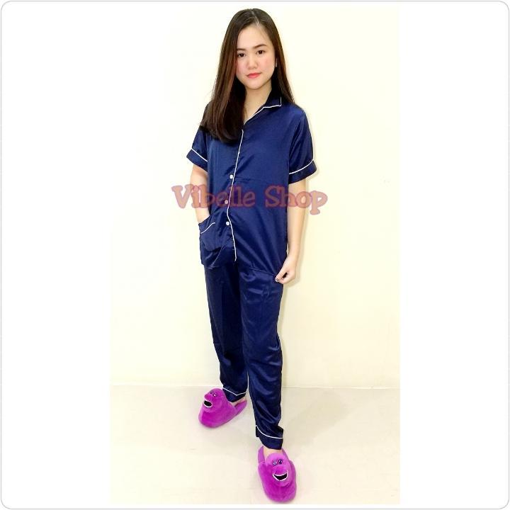 SATINCP - NAVY - Satin Silky Velvet Vibelle shop grosir baju tidur piyama fashion murah wanita