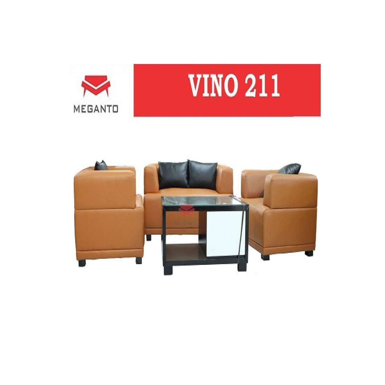Sofa Kantor vino 211 + meja tamu block teak